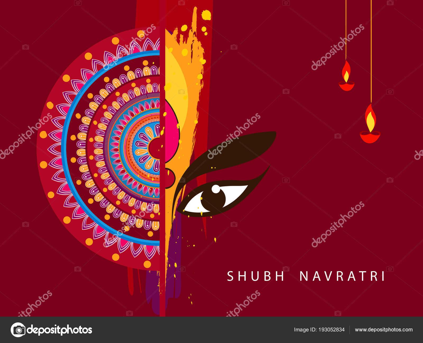 Abstract Editable Vector Hindu Festival Chaitra Navratri 2018 Used