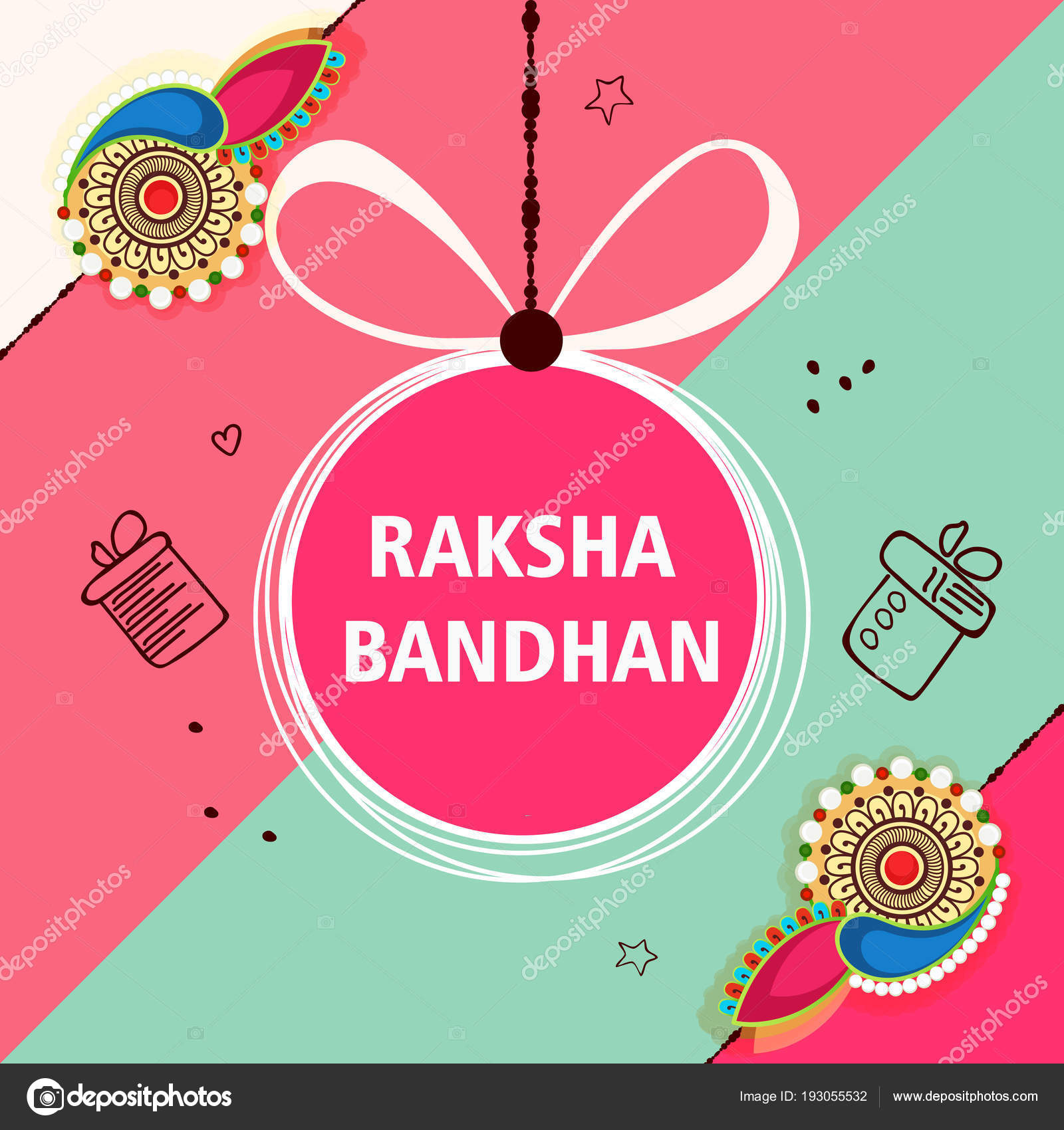 Creative greeting card design based line art colorful rakhi set creative greeting card design based line art colorful rakhi set stock vector m4hsunfo