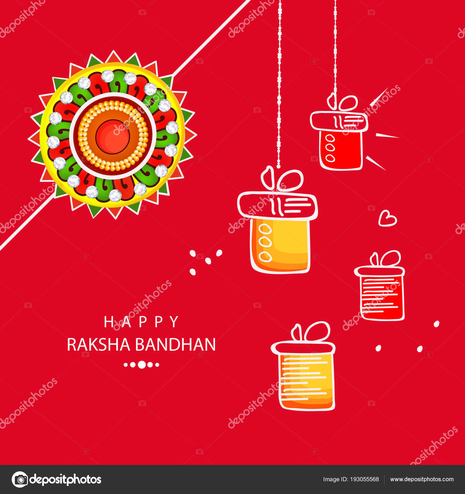 Beautiful Greeting Card Design Colorful Rakhi Hanging Gifts Based