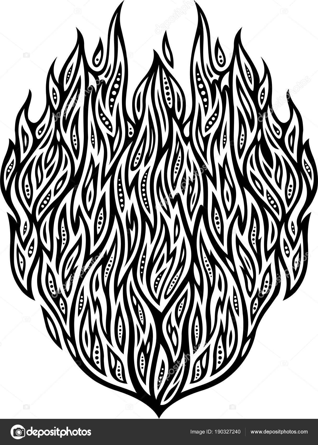 Isolé Dessin Plat Noir Blanc Motif Abstrait Détaillé Avec