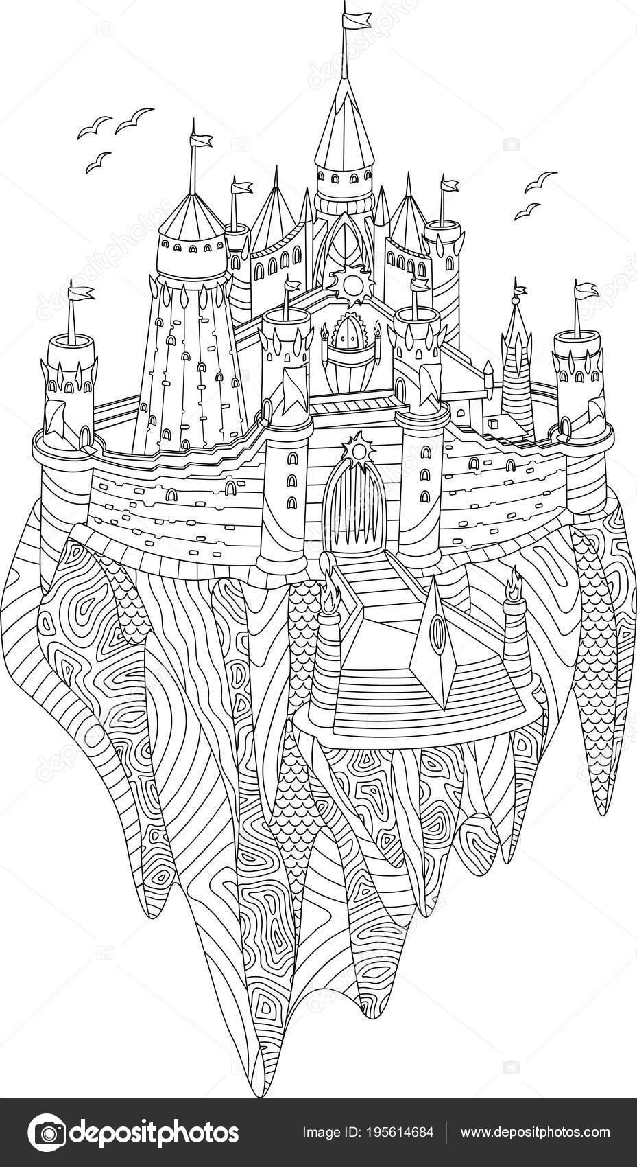 Livre Coloriage Adulte Avec Chateau Fantastique Sur Une Ile