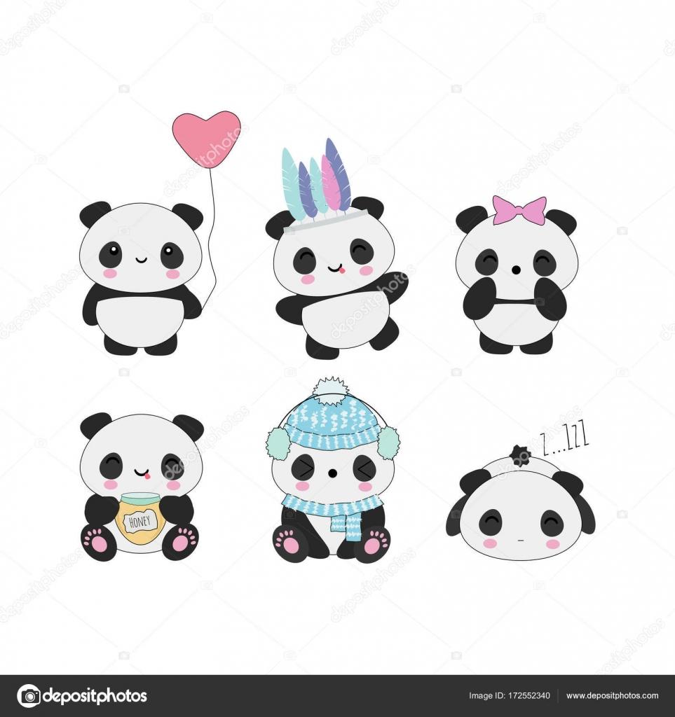 Jeu De Pandas Kawaii Image Vectorielle Owainphyfe 172552340
