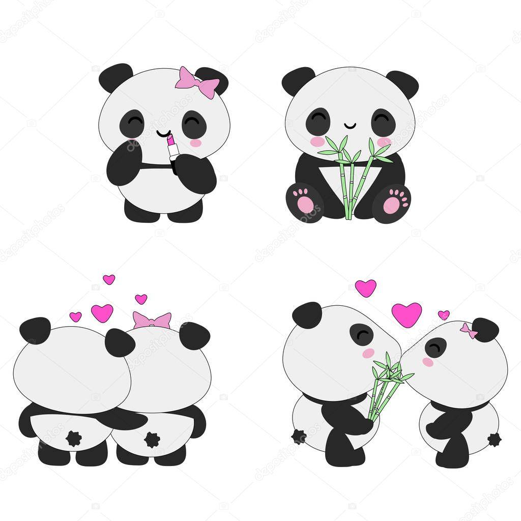 Conjunto De Panda Kawaii Vetores De Stock Owainphyfe