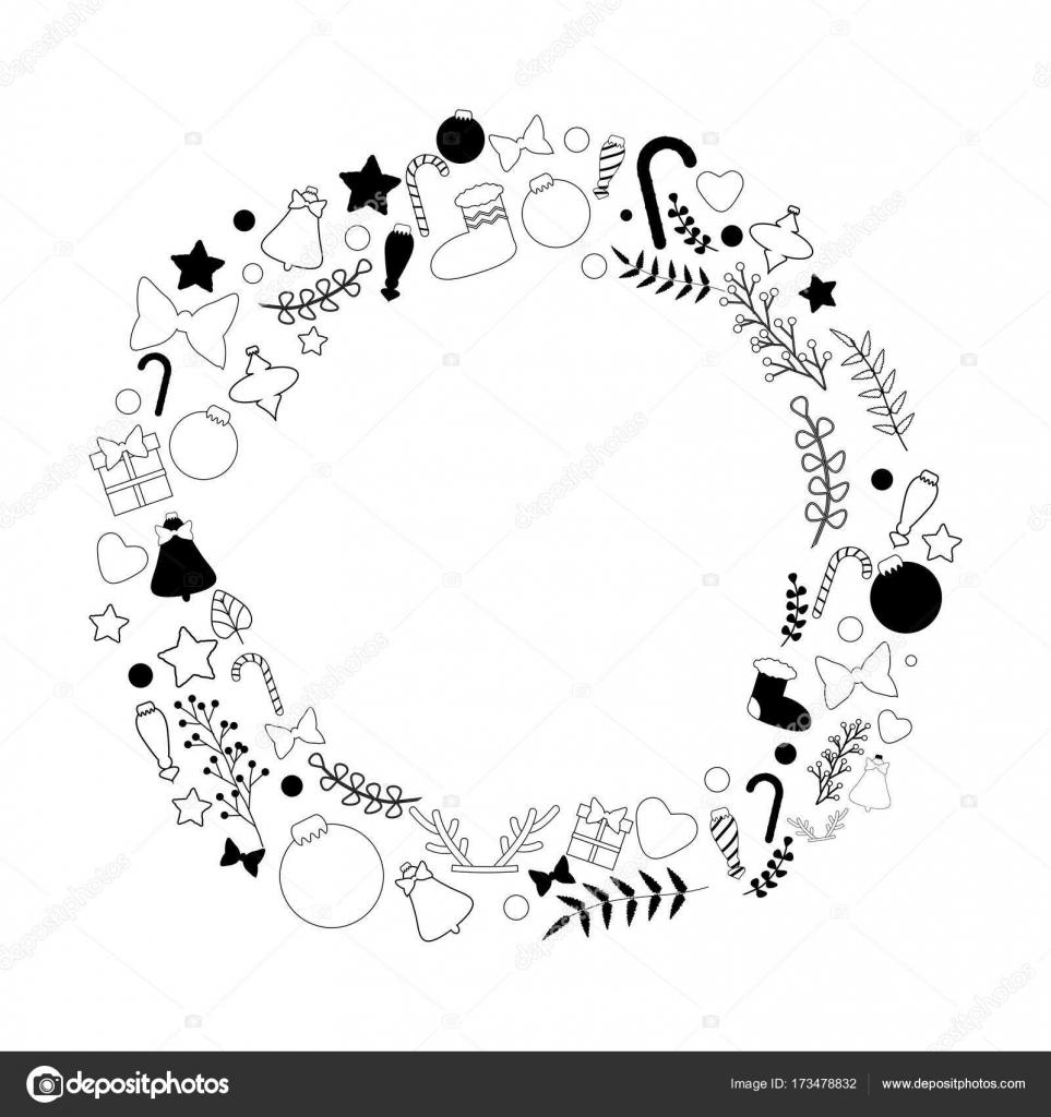 Guirlande De Noël Noir Et Blanc Image Vectorielle