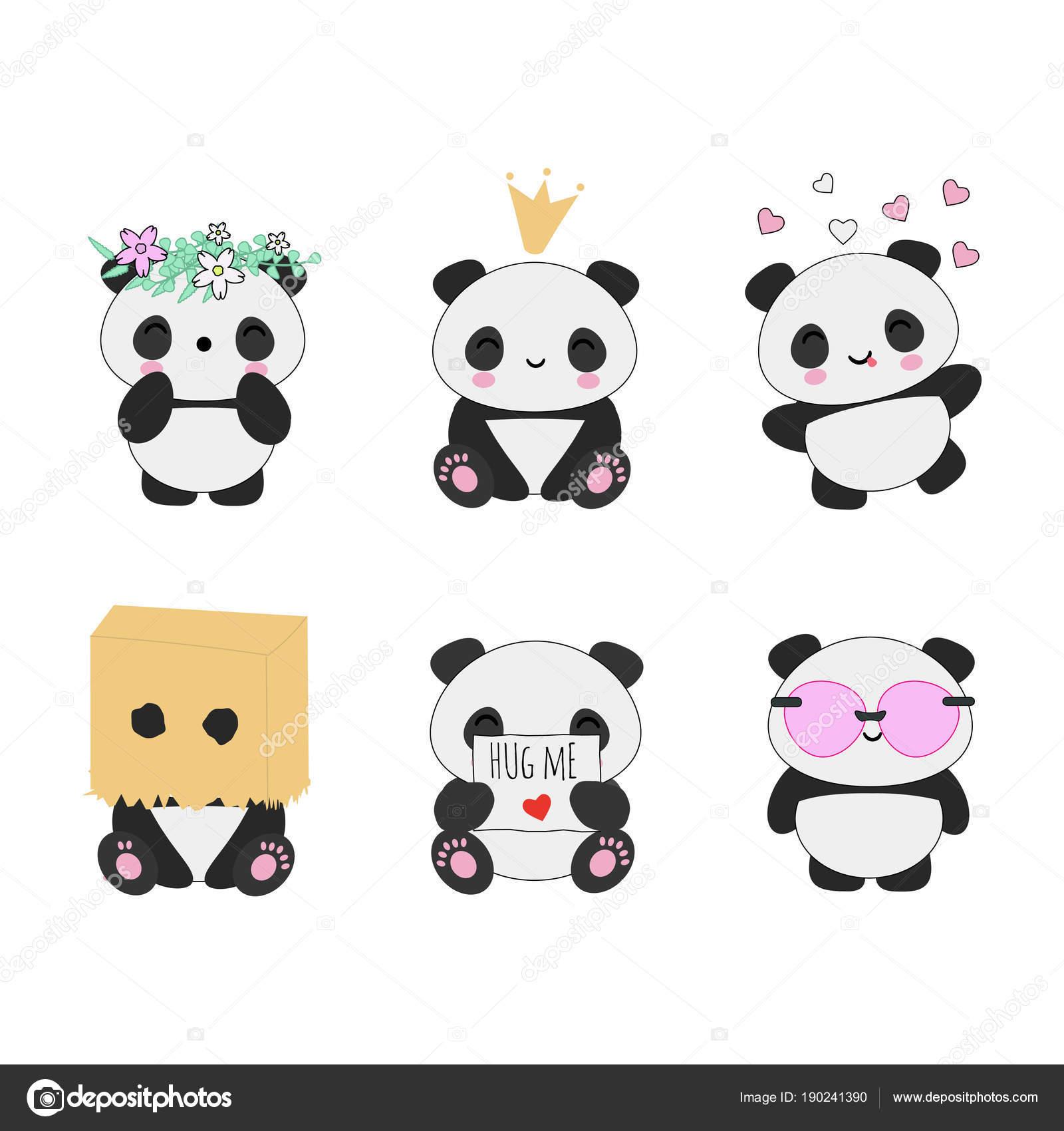 Fotos Pandas Kawaiis Conjunto De Vector Animal Asiático Osos