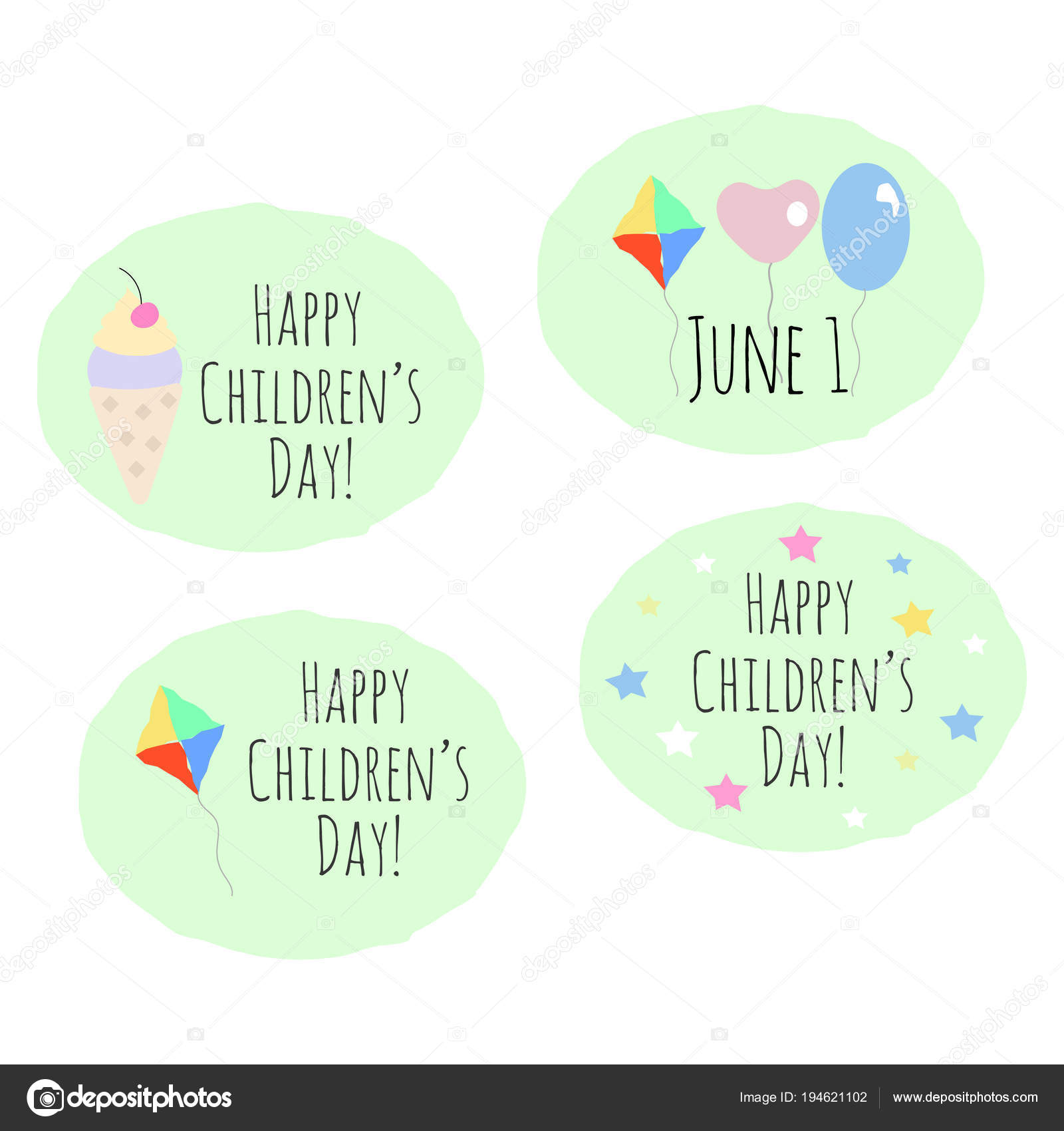Set Of 4 Vector Stickers With Childrens Day Greetings Stock