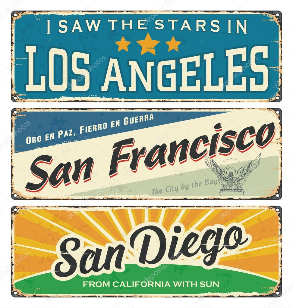 Vintage Tin Sign Collection With USA Cities Los Angeles San - Los angeles posters vintage
