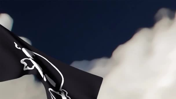 Pirate flag animation on cloudy sky background