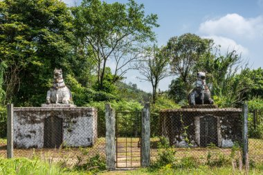 Two dignitary mausolea at domain Raja Tombs, Madikeri India.