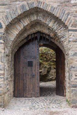 Entrance door to Eilean Donan Castle, Scotland.