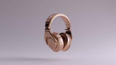 Bronze Luxury Headphones Earphones 3d illustration 3d render