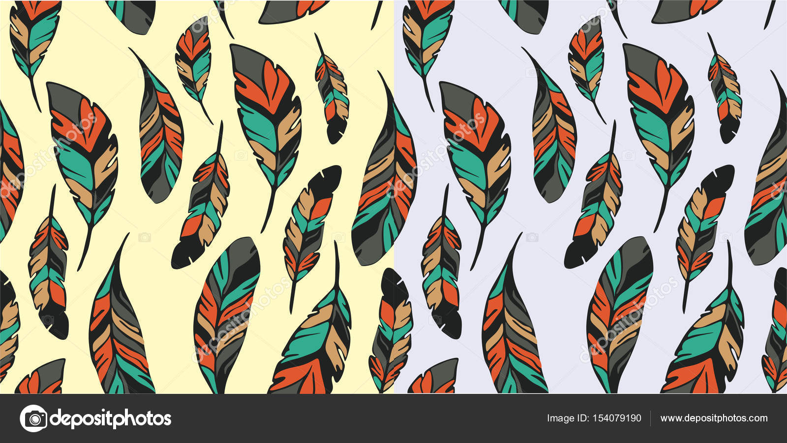 Pattern Pen Seamless Wallpaper With Feathers Stock Vector