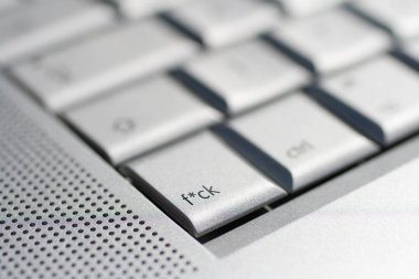 Close up shot of a laptop keyboard with a