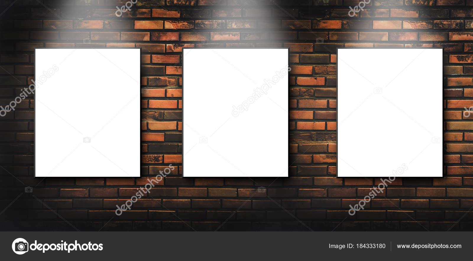 Three Blank White Canvas Frames Hang Brick Wall Light Shining
