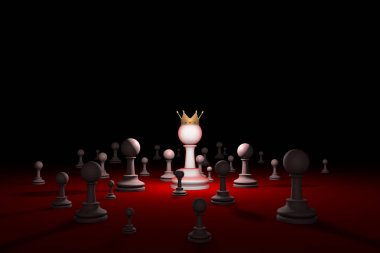 Secret society. Sect. Leader (chess metaphor). 3D render illustr