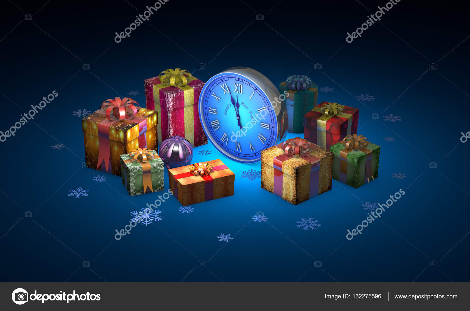 Beautiful Christmas Gifts Clock Available In High Resolution And Several Sizes To Fit The Needs Of Your Project 3D Illustration Rendering