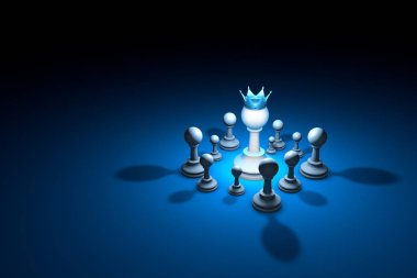 Strong team. Leader (chess metaphor). 3D render illustration. Fr