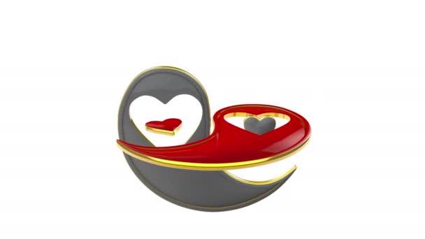 Jin jang (symbol věčné lásky). Východní kultury a filozofie. 3D animace