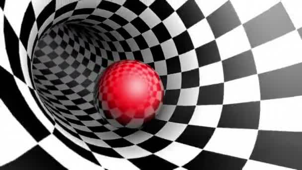 Red ball in a chess tunnel (chess metaphor). The space and time. Cyclical 3D animation.