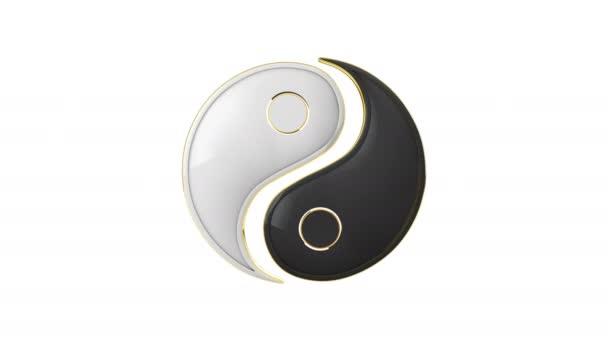 Jin jang (energie života). Neustálý boj dvou protikladů. Východní kultury a filozofie. 3D animace