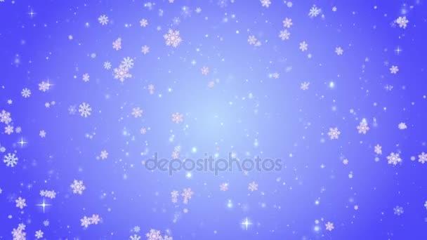 Létající dekorativní vločky. Zima, Vánoce, nový rok. Modré umělecké zázemí. 3D animace