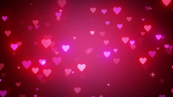 Glamorous romantic background. Dynamic movement of small shining hearts. Wedding pink backdrop. Quick Time, h264, 16-bit color, highest quality. 3D animation. Smooth gradation of color, without banding effect.