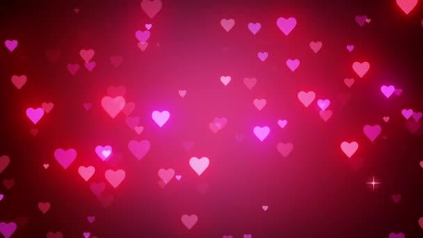 Ragyogó romantikus háttér. A kis ragyogó szívek dinamikus mozgása. Esküvői rózsaszín háttér. Gyors idő, h264, 16 bites szín, a legjobb minőség. 3D animáció. Sima színfokozat sávos hatás nélkül.