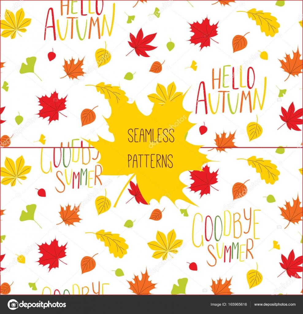 Set Of Autumn Patterns Stock Vector Mariaskrigan 165965616