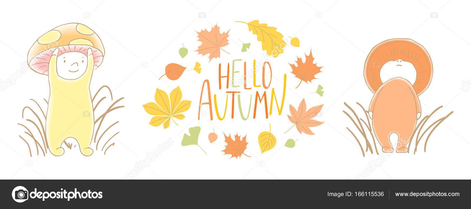 かわいい秋キノコの葉と引用 ストックベクター Mariaskrigan 166115536