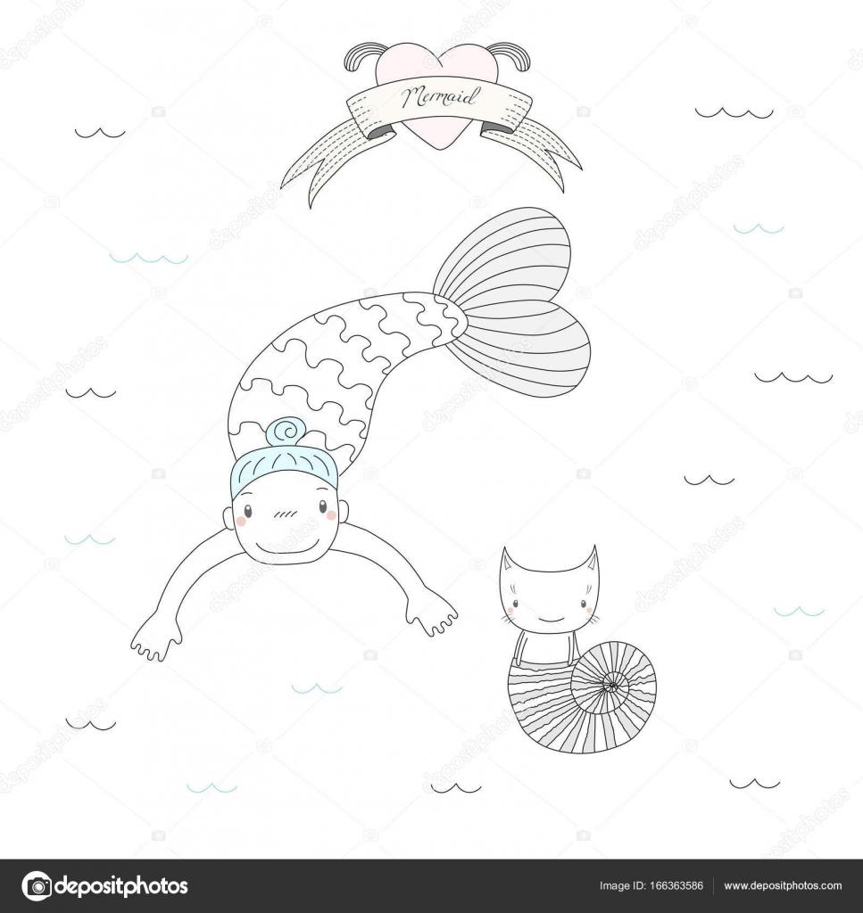 Imágenes Objetos Largos Para Colorear Las Sirenas Y Los Gatos