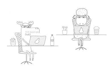 Sheep and moose working in an office