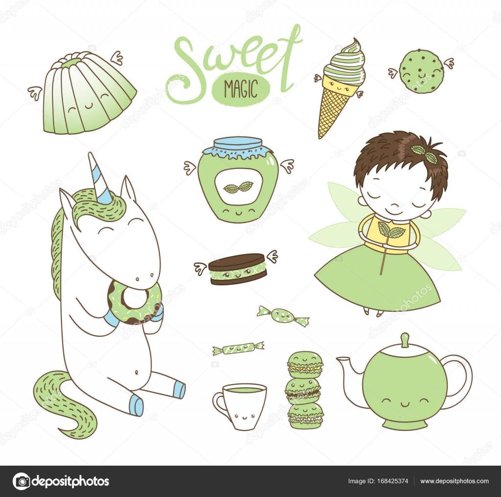 Doodles Dessert Mignon Dessines A La Main Avec Licorne Et Fee