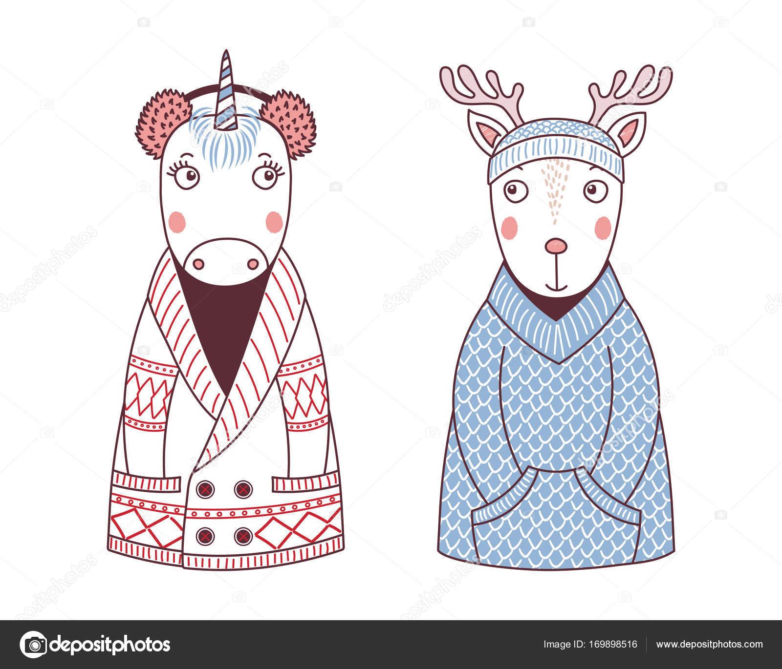 Animales divertidos lindos sombreros de punto y suéteres — Vector de ...