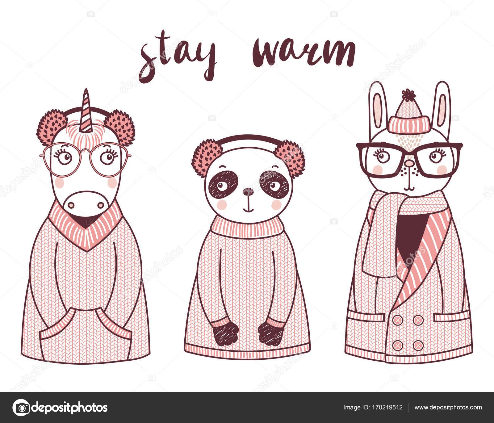 Animales divertidos lindos sombreros de punto y suéteres — Archivo ...