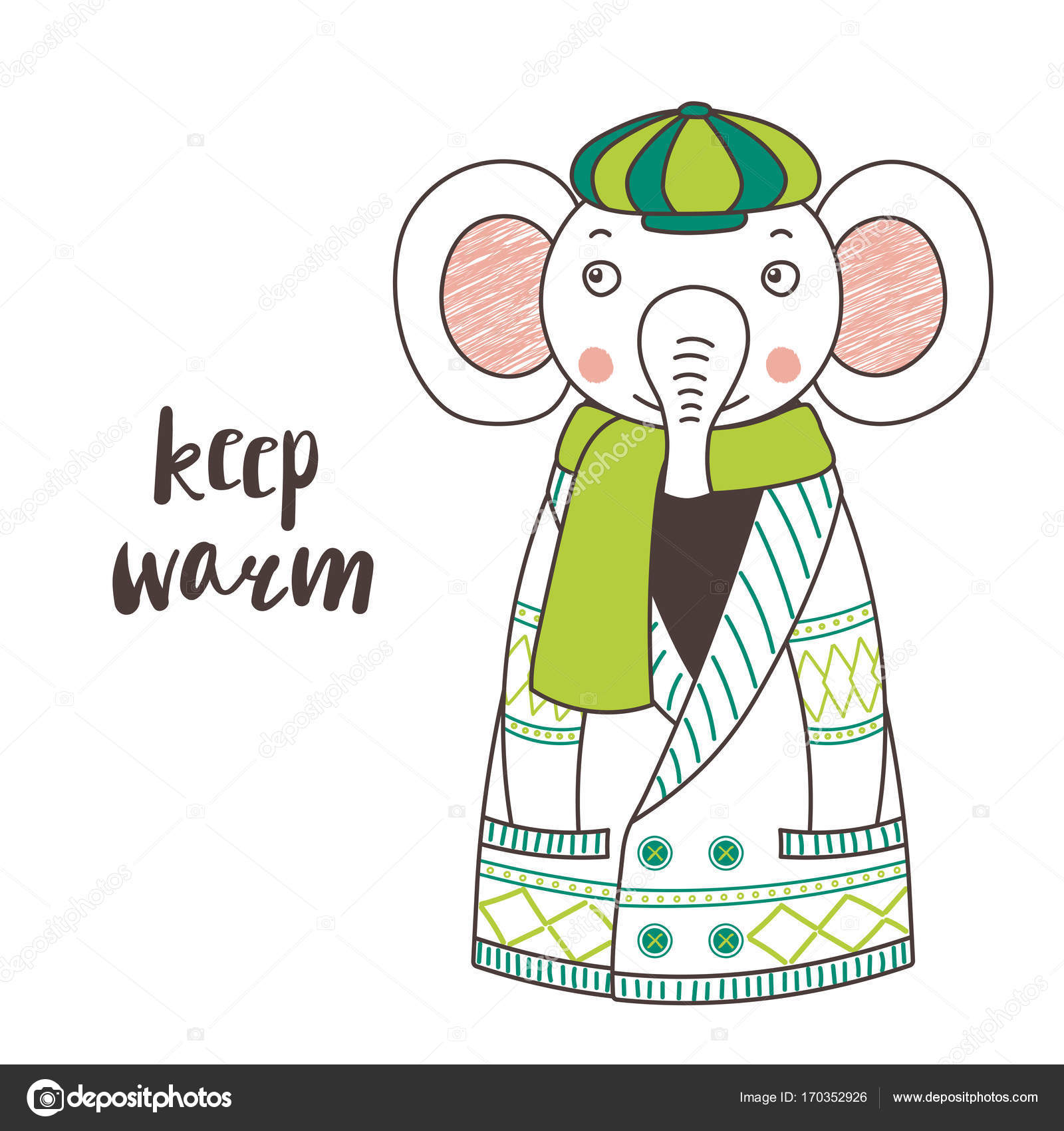 Lindo elefante divertido en una chaqueta de punto y casquillo ...