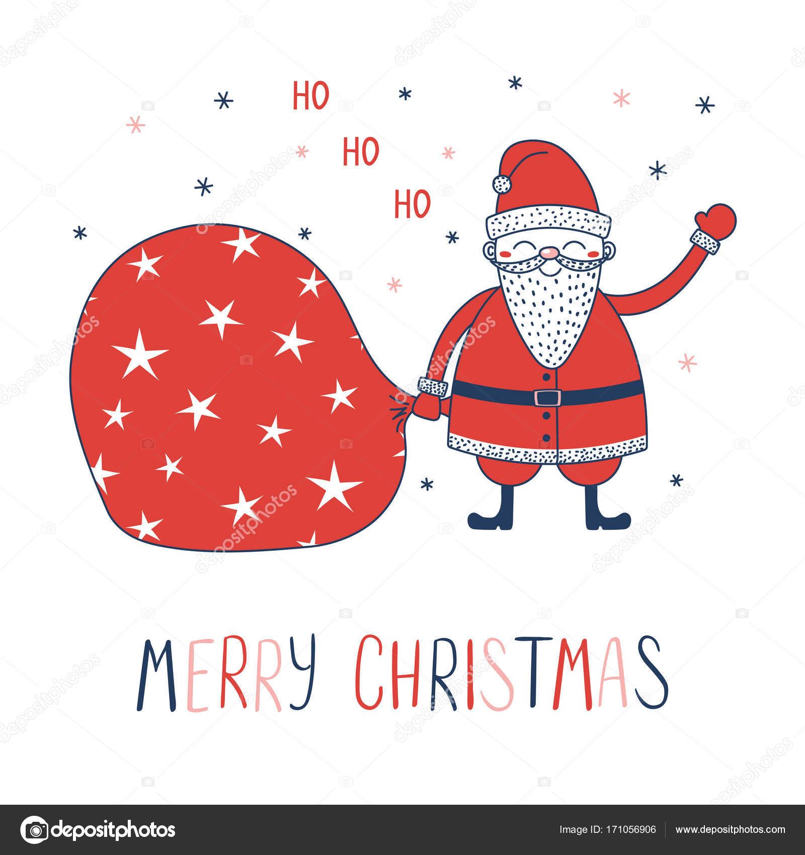 Babbo Natale Ho Ho Ho.Biglietto Di Auguri Di Natale Con Babbo Natale Vettoriali Stock
