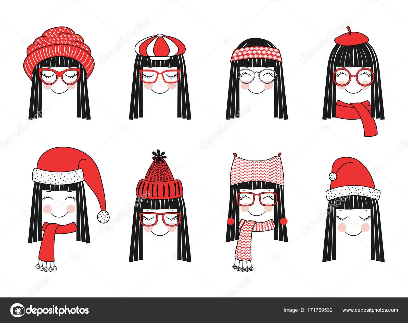 Chicas lindas en cálidos sombreros — Vector de stock © Maria_Skrigan ...