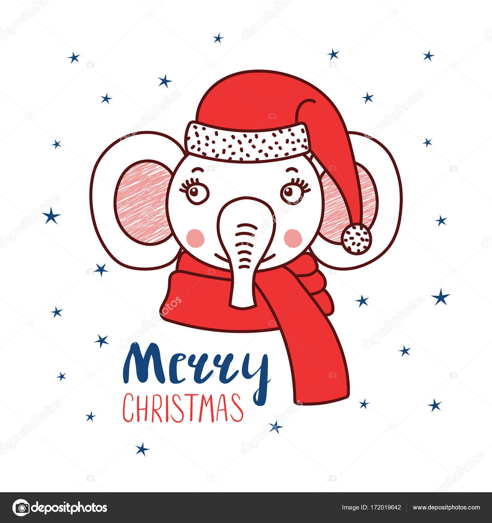 Portrait de vecteur dessiné main d un éléphant mignon drôle dans un bonnet,  texte joyeux Noël. Objets isolés sur fond blanc avec des étoiles — Vecteur  par ... 24f9b4fd7fe
