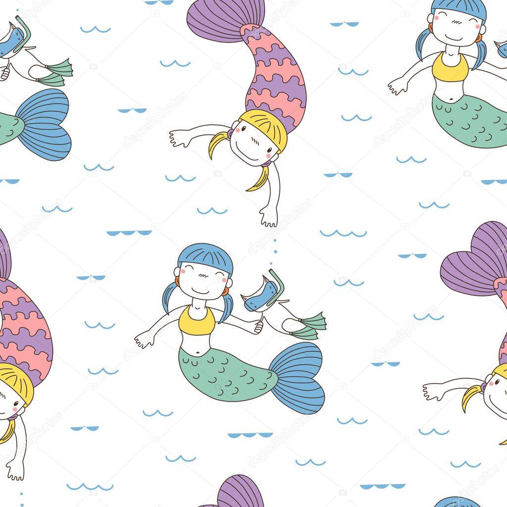 Seamless mermaids pattern