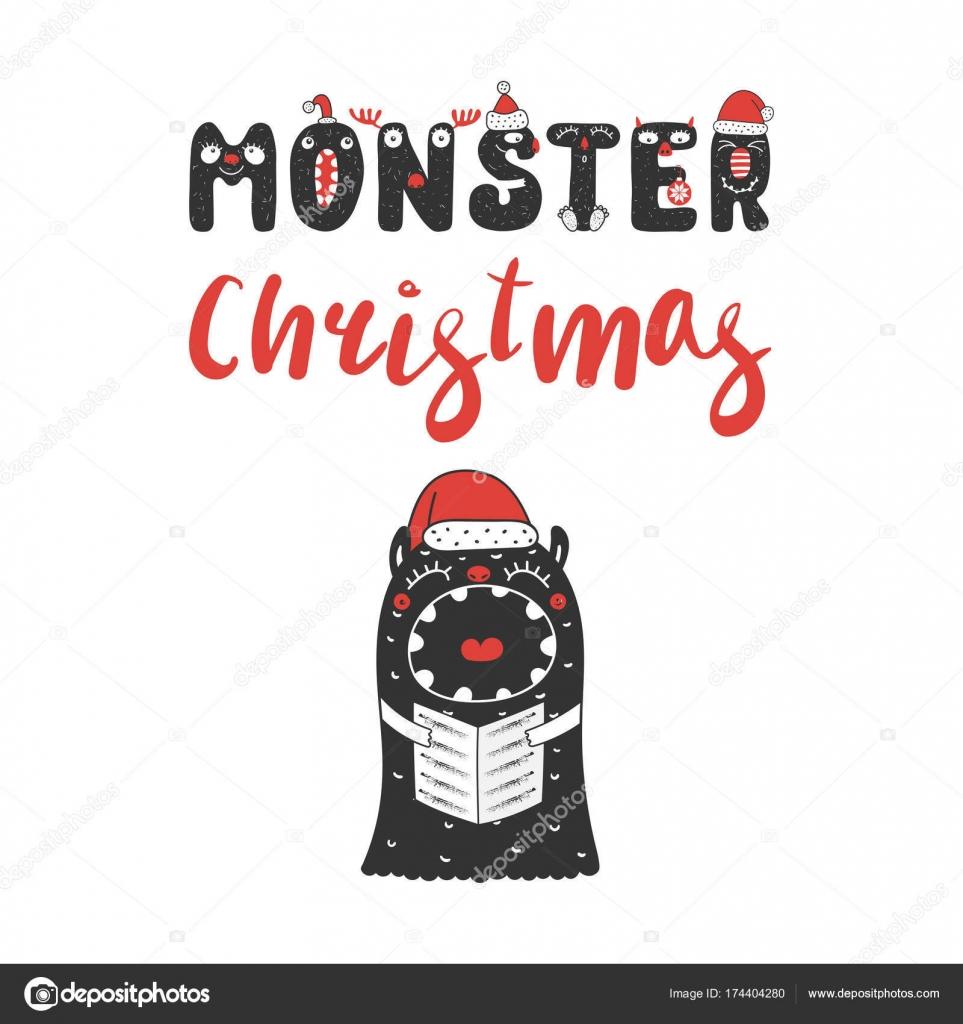 Weihnachten-Monster singen Weihnachtslieder — Stockvektor ...