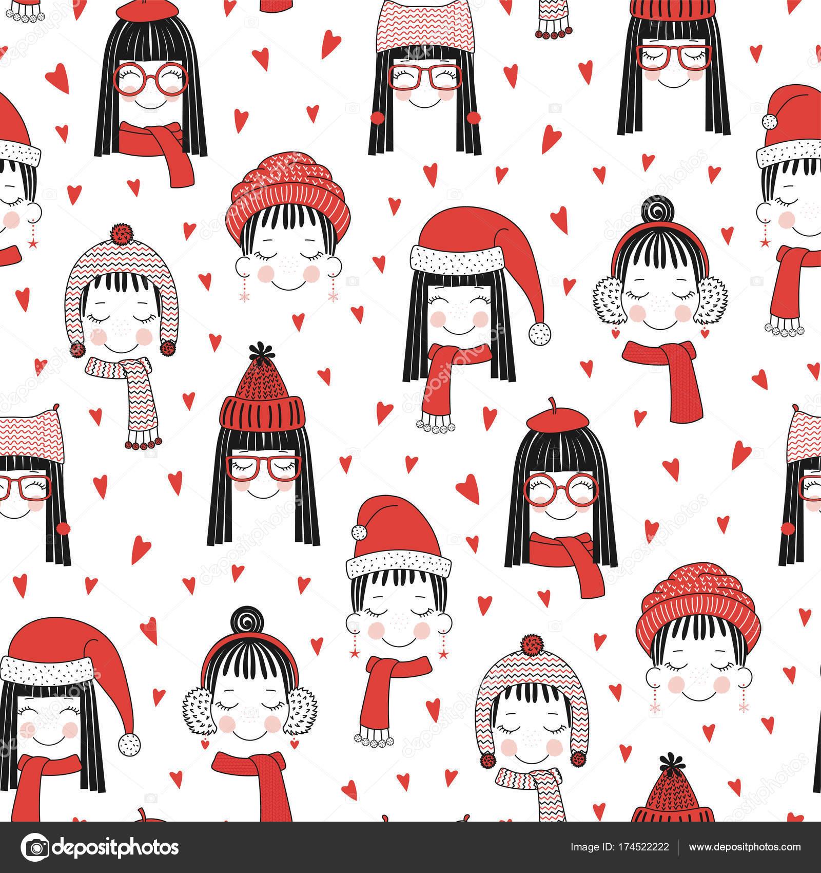 Lindo invierno niñas de patrones sin fisuras — Vector de stock ...