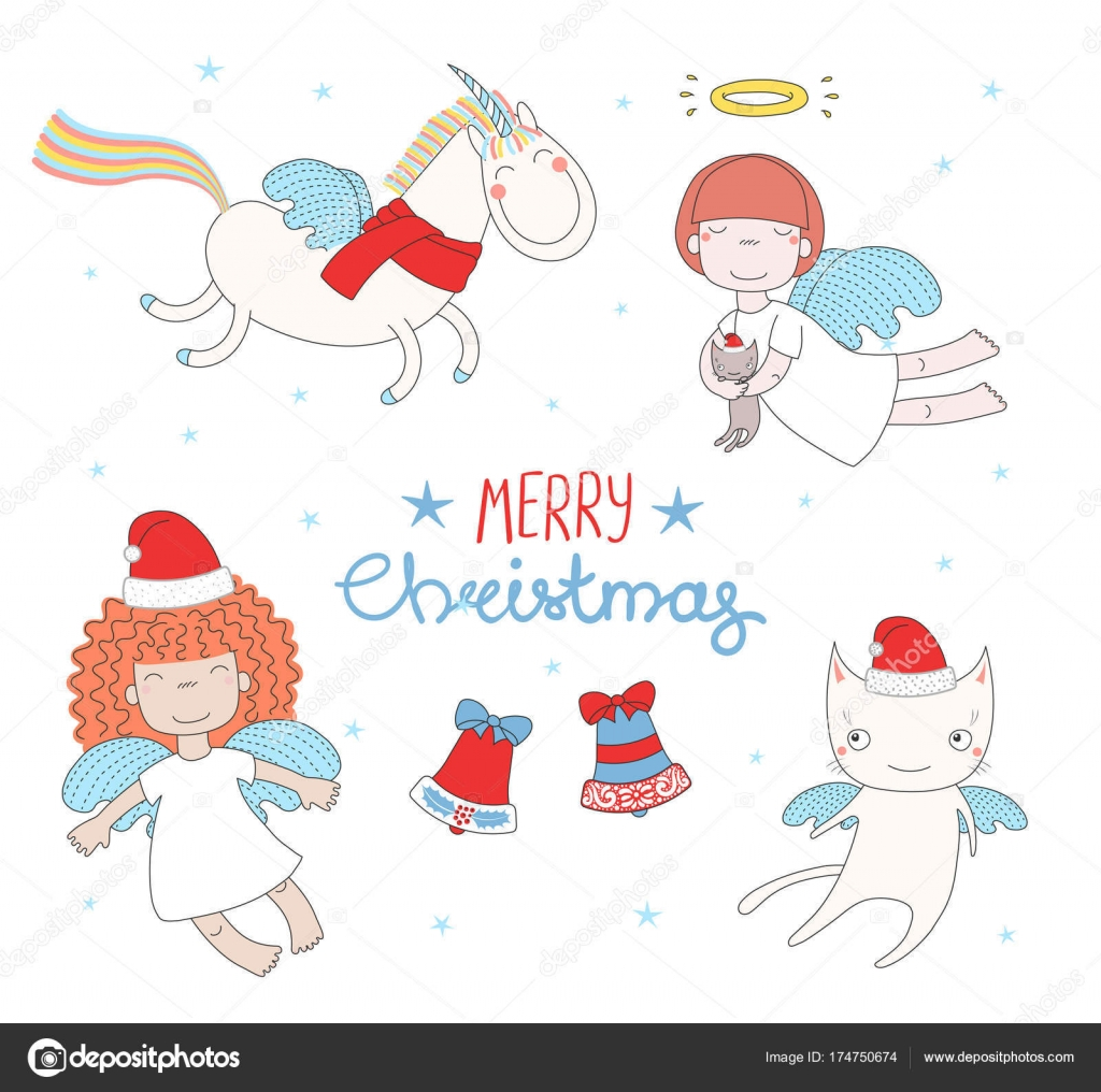 Cute Christmas angels — Stock Vector © Maria_Skrigan #174750674