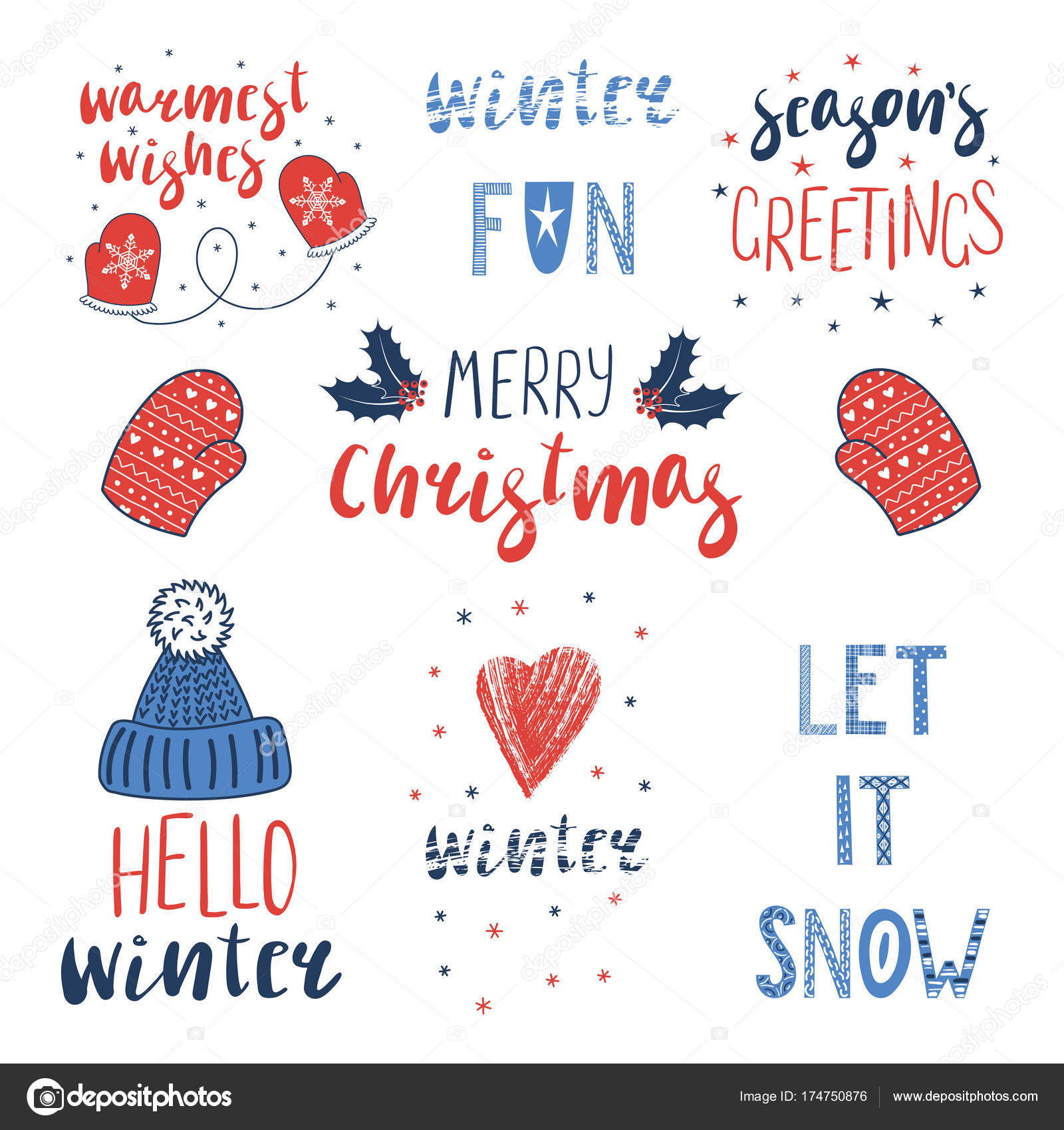 Winter And Christmas Quotes Set Stock Vector Mariaskrigan