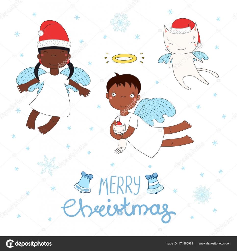 Cute Christmas angels — Stock Vector © Maria_Skrigan #174860984