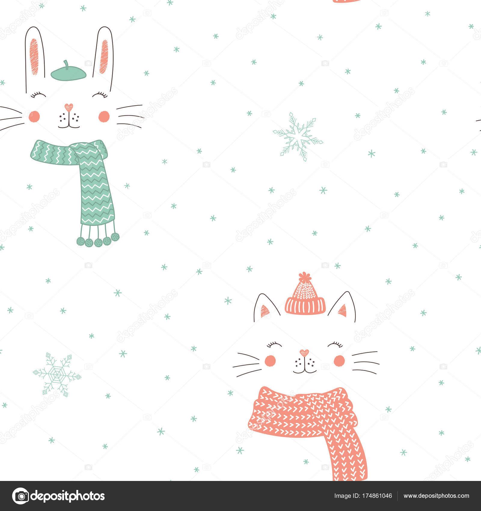 Patrón sin fisuras de animales lindo invierno — Vector de stock ...