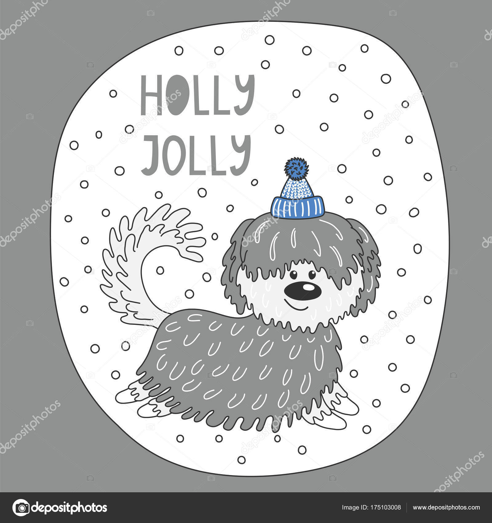 Cute Dog Holidays Greeting Card Stock Vector C Maria Skrigan