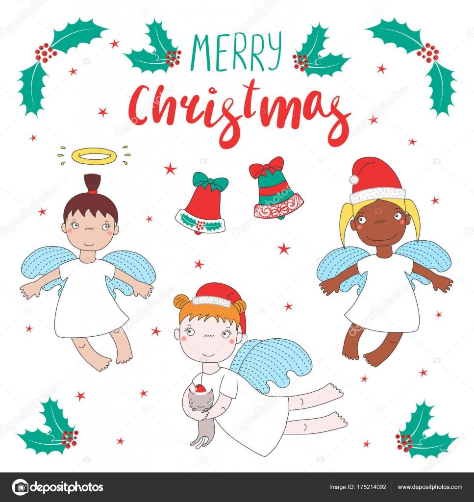 Cute Christmas angels — Stock Vector © Maria_Skrigan #175214092