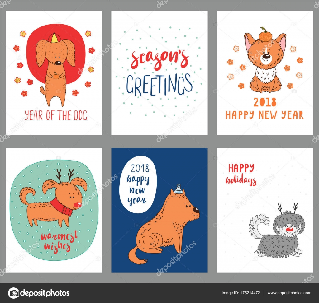 Cute Dog Holidays Greeting Cards Stock Vector C Maria Skrigan