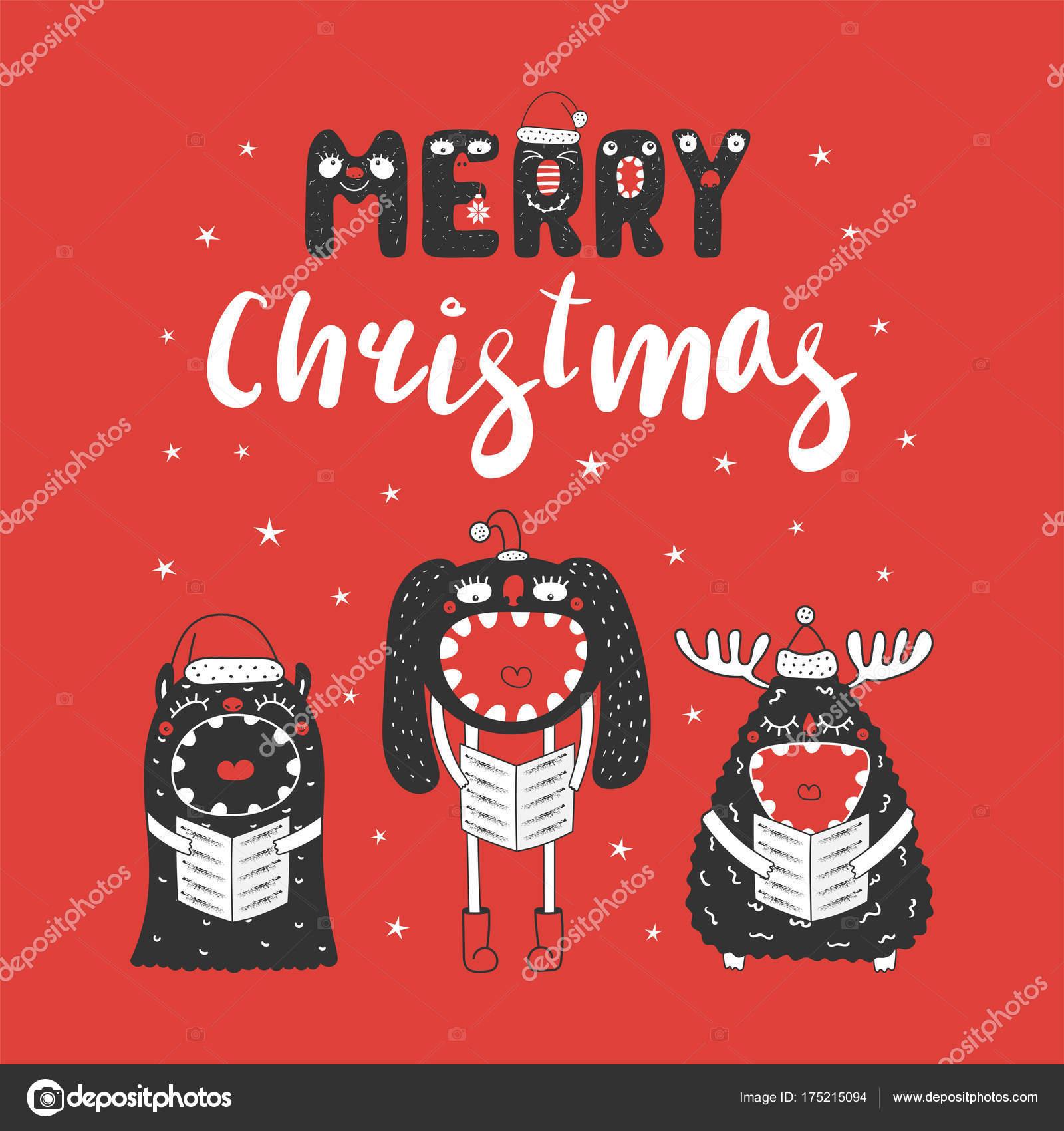 Lustige Weihnachtslieder Für Kinder.Nette Und Lustige Weihnachts Monster Stockvektor Maria Skrigan