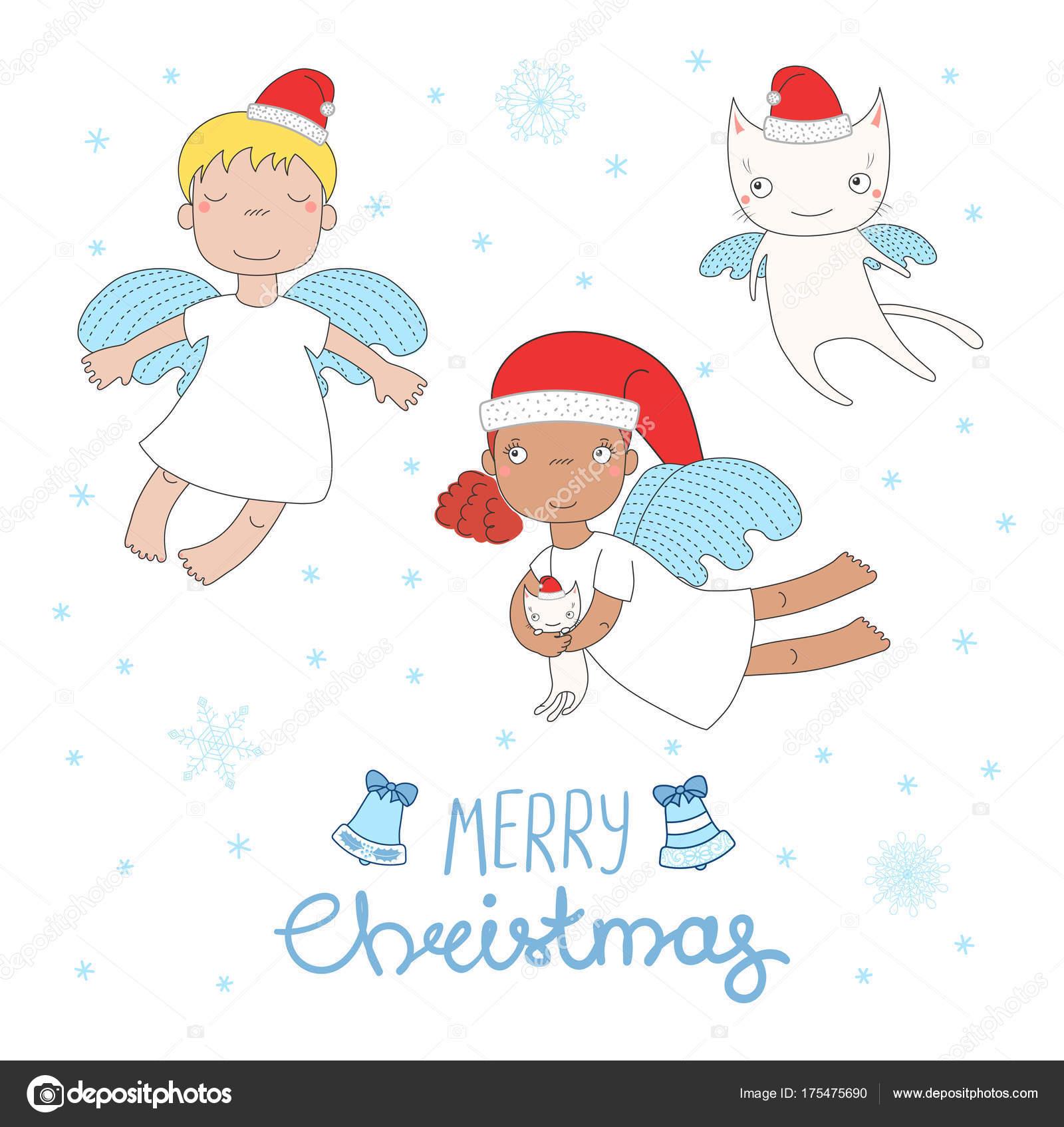 Cute Christmas angels — Stock Vector © Maria_Skrigan #175475690